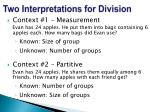 two interpretations for division