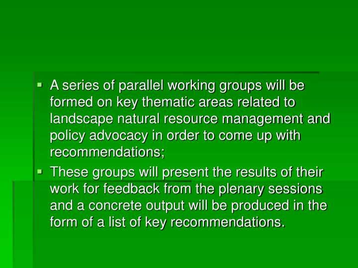 A series of parallel working groups will be formed on key thematic areas related to landscape natural resource management and policy advocacy in order to come up with recommendations;
