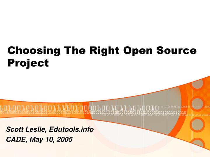 choosing the right open source project n.