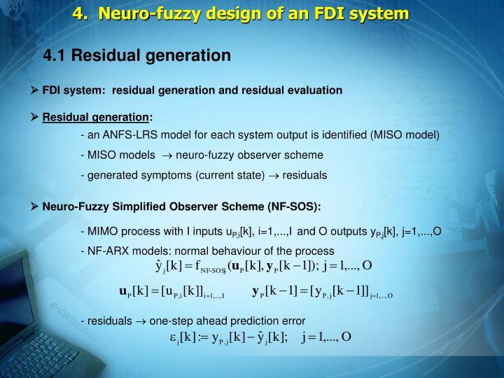 4.  Neuro-fuzzy design of an FDI system