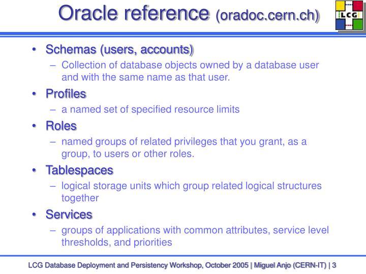 Oracle reference oradoc cern ch