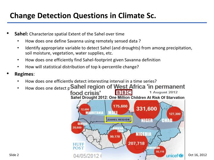 Change detection questions in climate sc