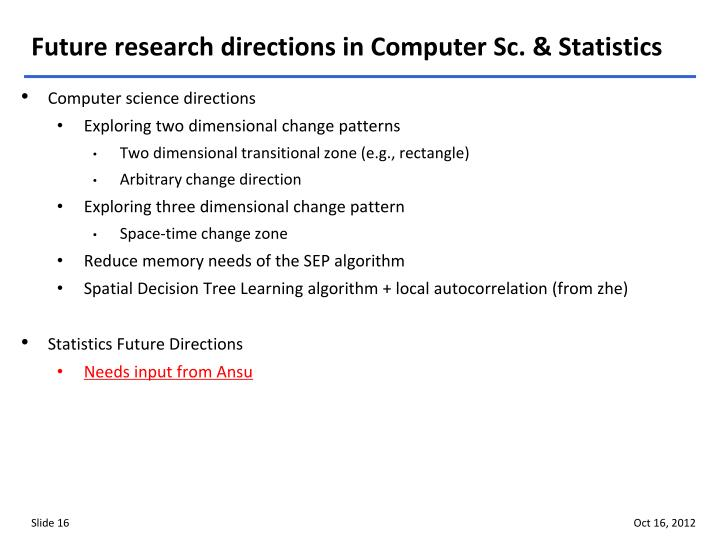 Future research directions in Computer Sc. & Statistics