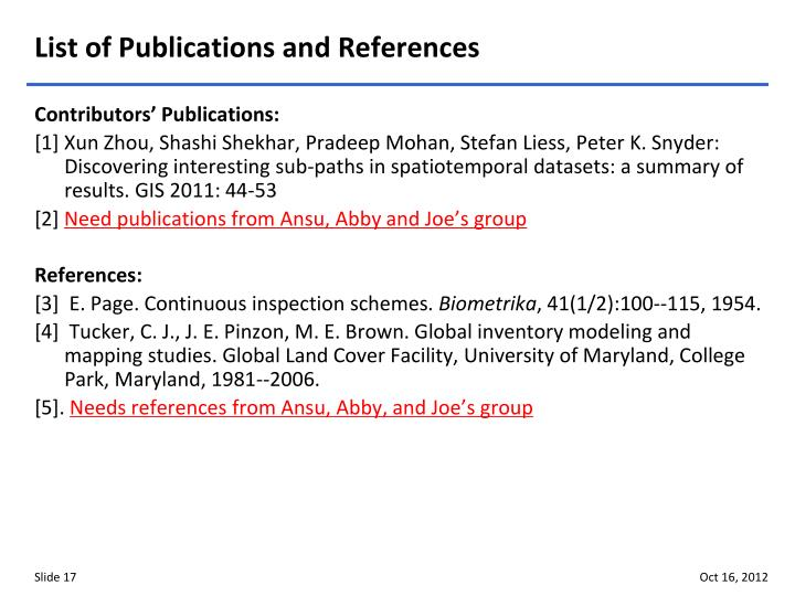 List of Publications and References