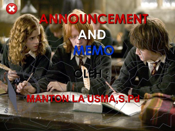 announcement and memo n.