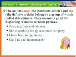 notes on grammar exercises articles i