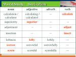 word study derivation