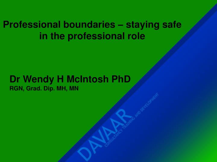 professional boundaries The goal of this program is to provide medical social workers with knowledge about the role of professional boundaries in practice after studying the information presented here, you will be able to: identify the purpose of professional boundaries for practitioners and clients discuss the ethical issues related to appropriate boundaries.