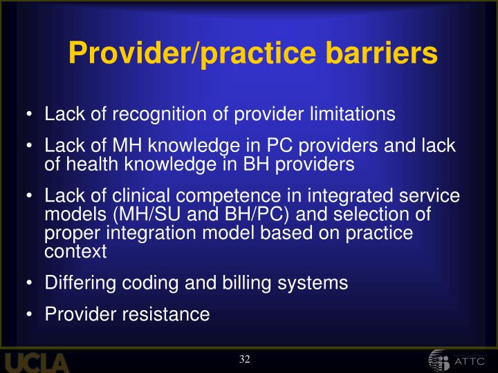 Provider/practice barriers