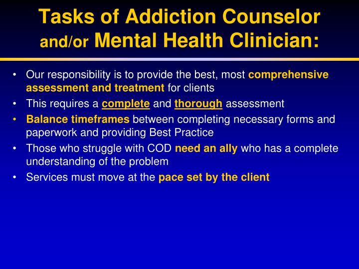 Tasks of Addiction Counselor