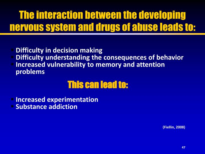The interaction between the developing nervous system and drugs of abuse leads to: