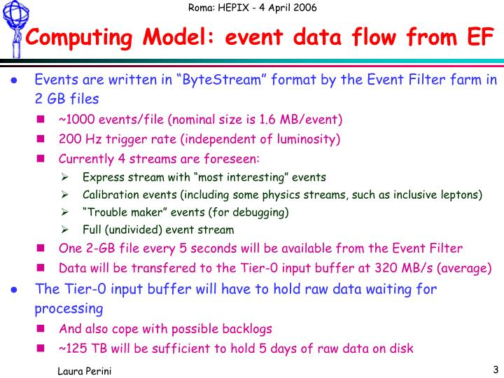 Computing model event data flow from ef