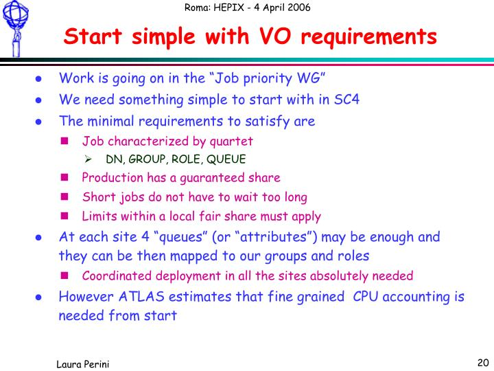 Start simple with VO requirements