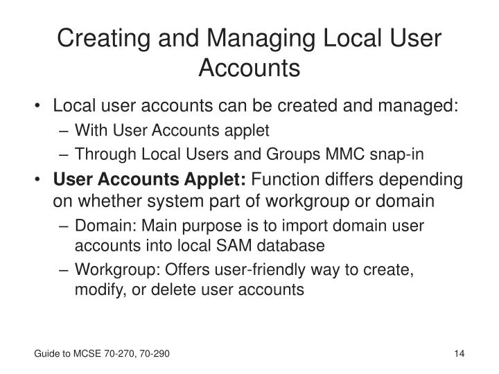 Creating and Managing Local User Accounts