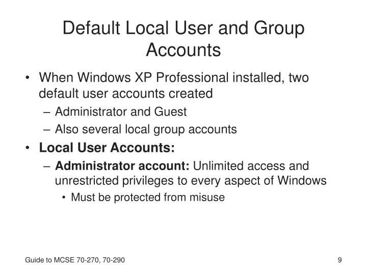 Default Local User and Group Accounts