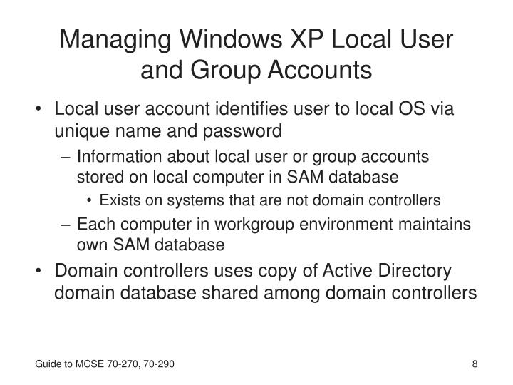 Managing Windows XP Local User and Group Accounts