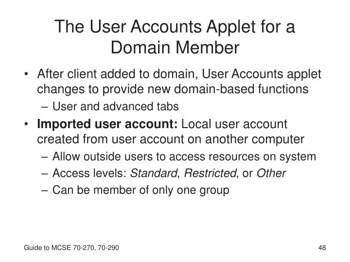 The User Accounts Applet for a Domain Member