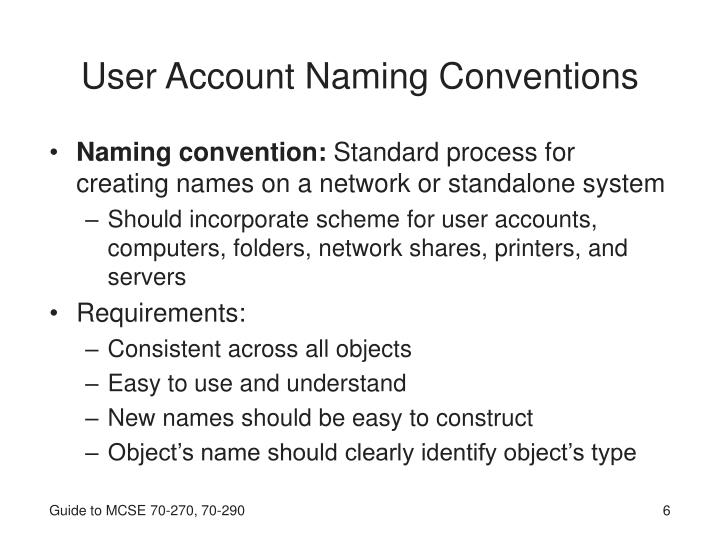 User Account Naming Conventions