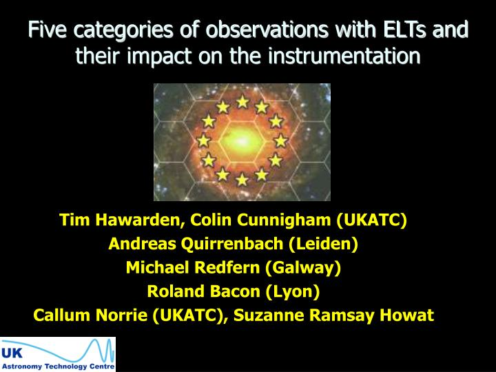 five categories of observations with elts and their impact on the instrumentation n.
