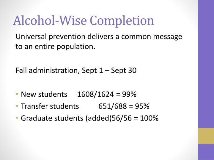 Alcohol wise completion