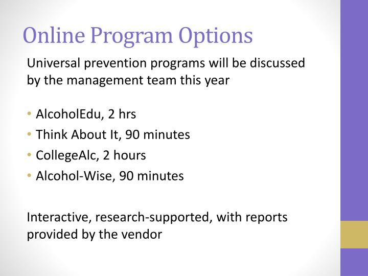 Online Program Options