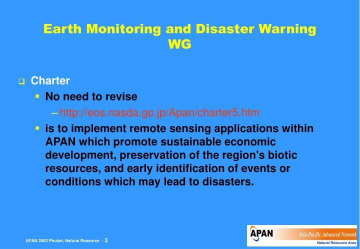Earth monitoring and disaster warning wg