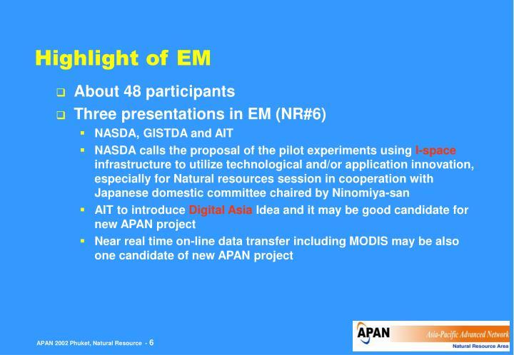 Highlight of EM