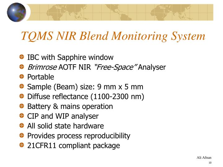 TQMS NIR Blend Monitoring System