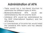 administration of apa