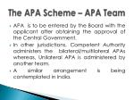 the apa scheme apa team