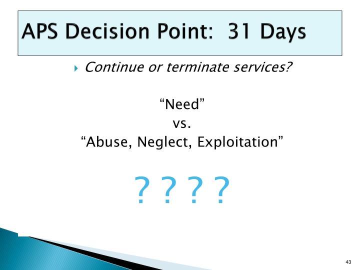APS Decision Point:  31 Days
