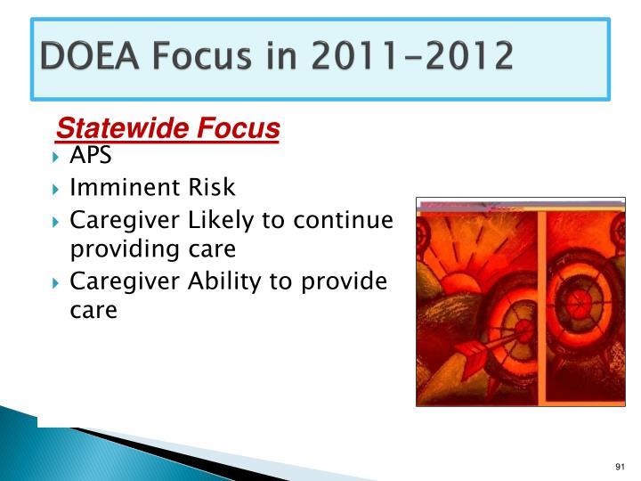 DOEA Focus in 2011-2012