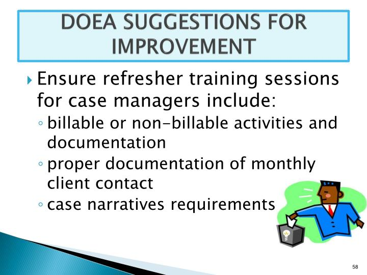 DOEA SUGGESTIONS FOR IMPROVEMENT