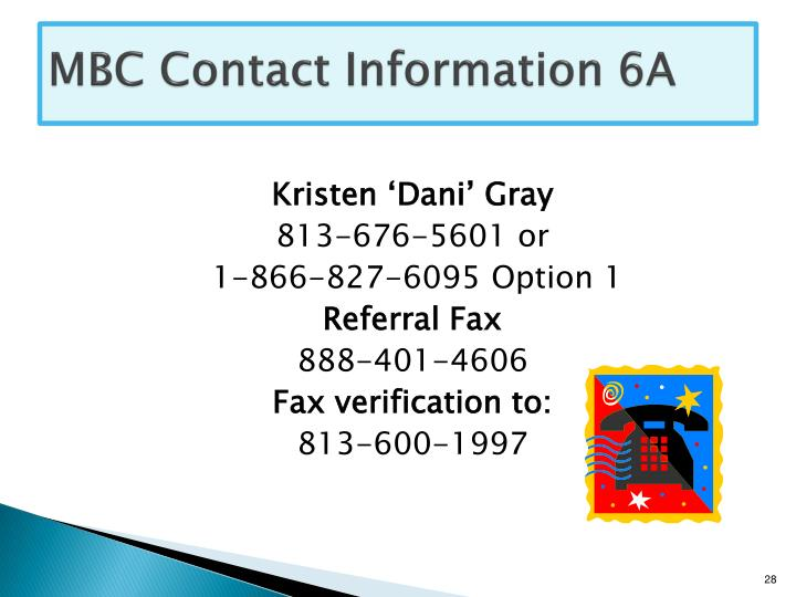 MBC Contact Information 6A