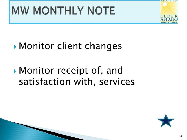 MW MONTHLY NOTE