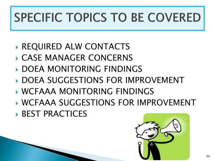 SPECIFIC TOPICS TO BE COVERED