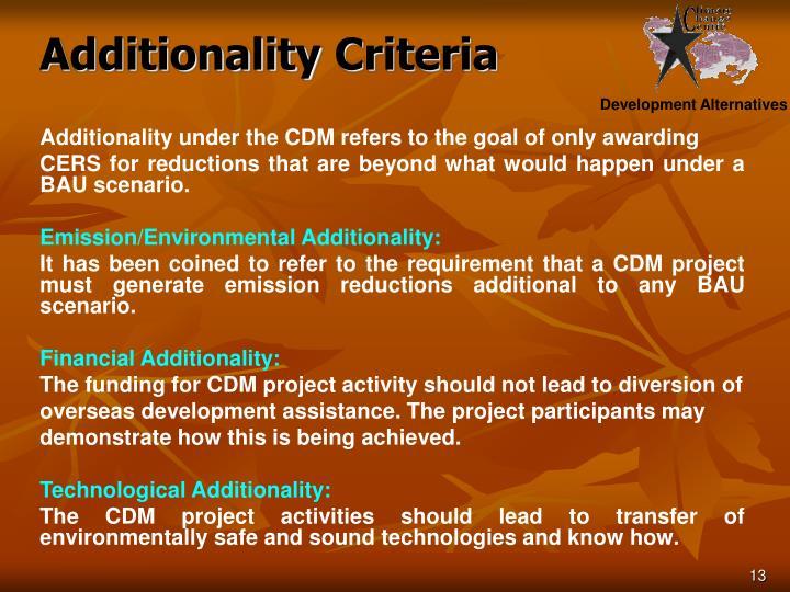 Additionality Criteria
