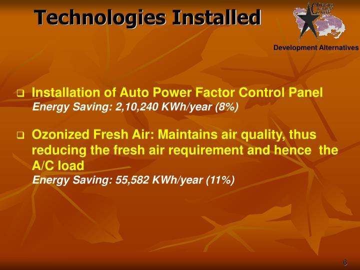 Technologies Installed