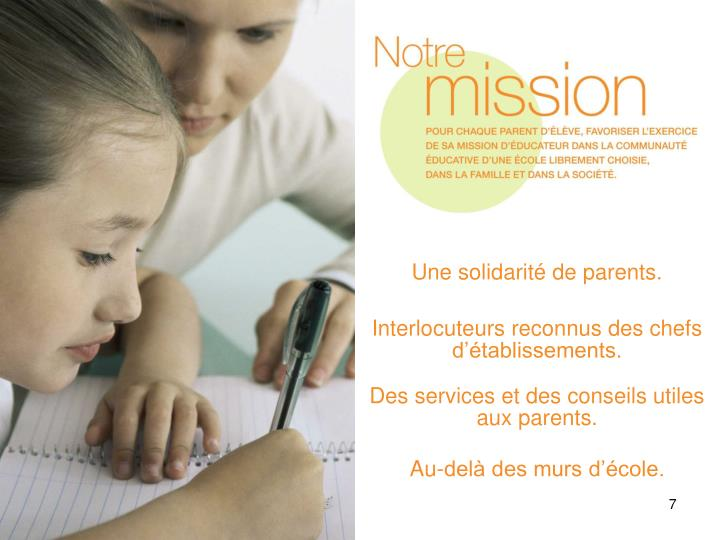 Une solidarité de parents.