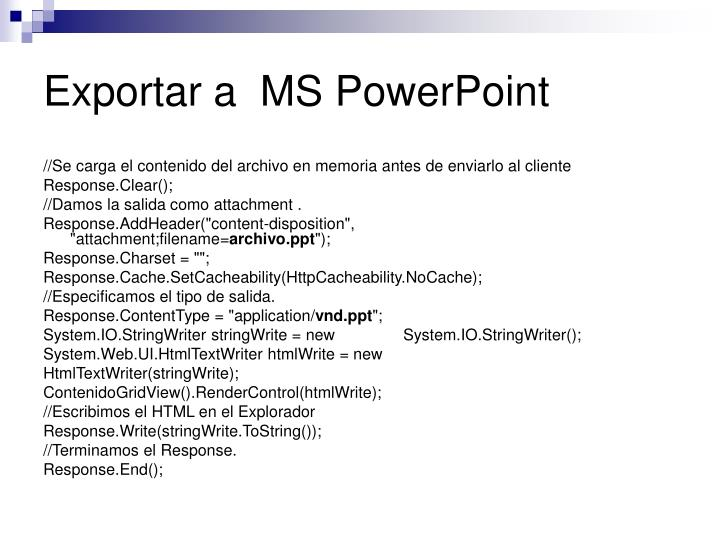 Exportar a  MS PowerPoint