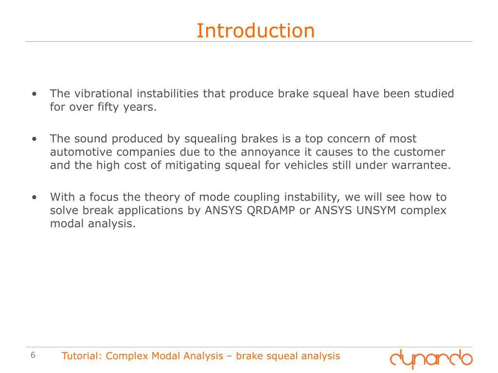 PPT - Performing a parametric Brake Squeal Analysis in ANSYS