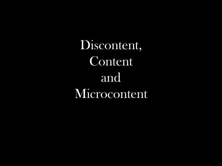 Discontent,
