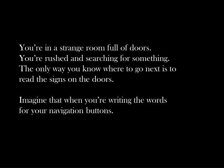 You're in a strange room full of doors.