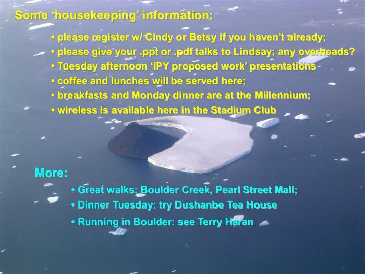 Some 'housekeeping' information: