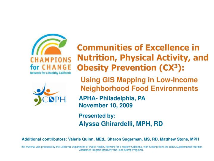 communities of excellence in nutrition physical activity and obesity prevention cx 3 n.