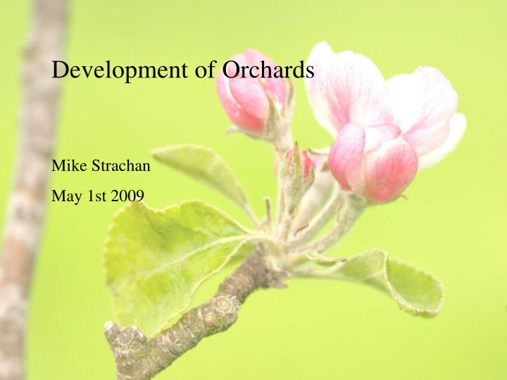Development of Orchards
