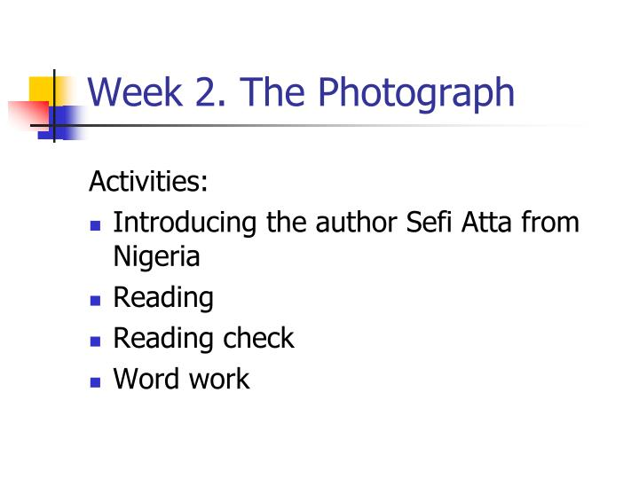Week 2. The Photograph