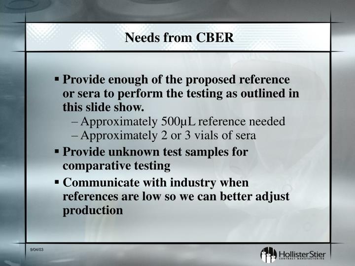 Needs from CBER