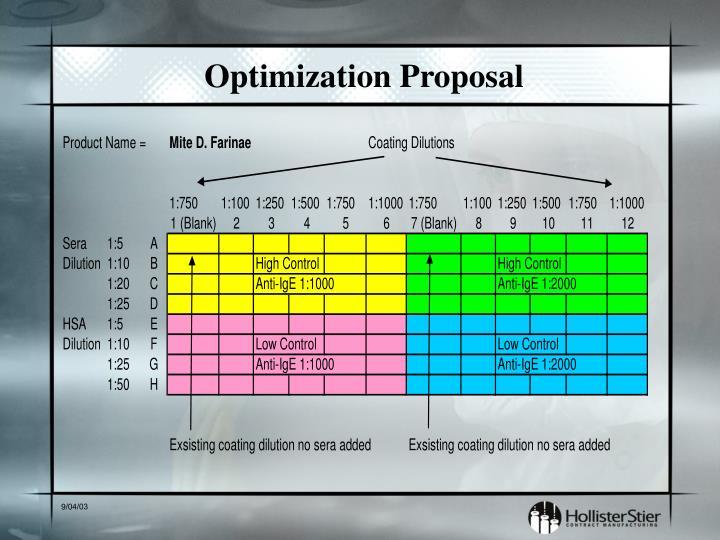 Optimization Proposal