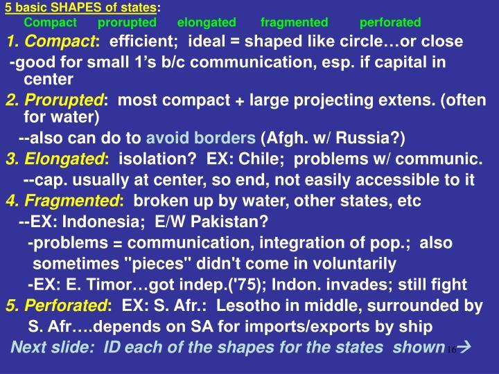 5 basic SHAPES of states